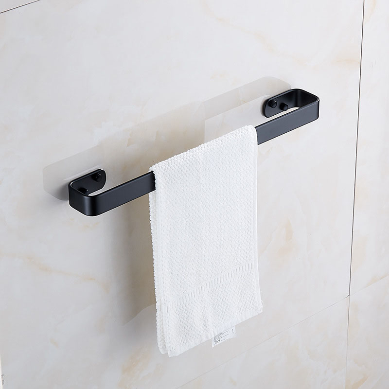 European Towel Bar Black Space Aluminum Wall Mounted Single Wall Bracket Washroom Towel Rack Hanging Holder Hotel Bathroom Towel