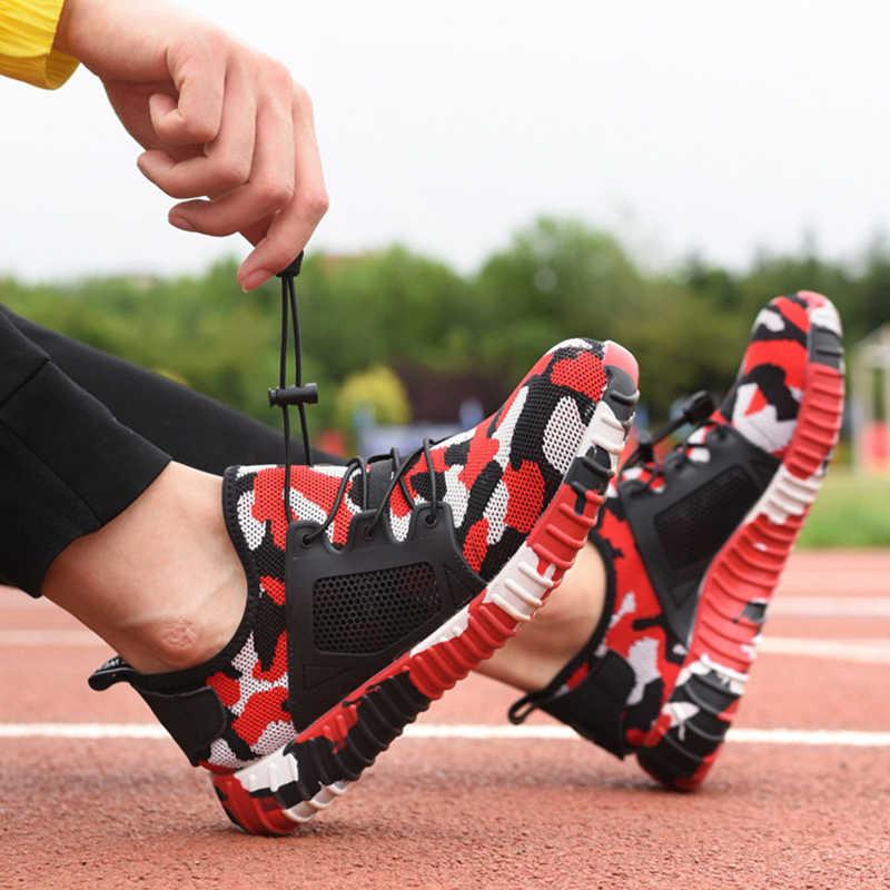 Erkekler için iş ve güvenlik ayakkabıları moda kamuflaj açık çelik ayak erkek askeri savaş yarım çizmeler Anti-Smashing koruyucu ayakkabı