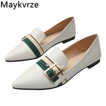 цена на Tide women shoes leather sexy pointed Toe belt buckle color matching flats fashion Comfortable soft bottom Women's casual shoes