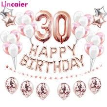 Lincaier 32 polegada 62cm 30th aniversário balões feliz 30 anos decorações de festa masculino feminino suprimentos trinta