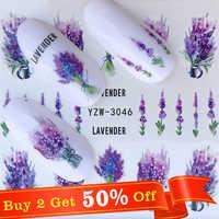 Nagel Aufkleber auf Nägel Blühende Blume Aufkleber für Nägel Lavendel Nail art Wasser Transfer Aufkleber Decals