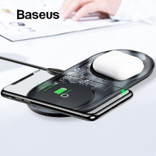 Baseus 15W Dual Wireless Charger para iPhone 11 Pro Max X XS Max XR Almohadilla de carga inalámbrica visible para Samsung Galaxy Note 10 Plus Note 9 8 S10 S9 Carga para Airpods(China)