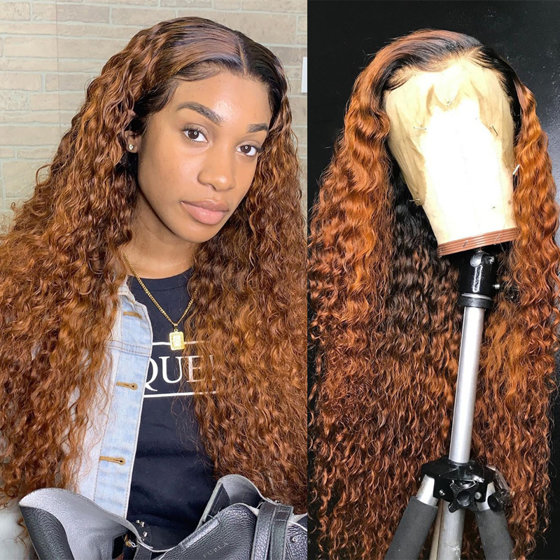 Ombre Color Curly Lace Front Human Hair Wigs With Baby Hair 13x6 Deep Part Ombre Brazilian Remy Hair Lace Wigs Dream Beauty