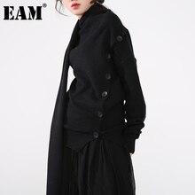 [EAM] Asymmetrical big size Knitting Cardigan Sweater Scarf Collar Long Sleeve Women New Fashion Autumn Winter 2021 1DD310301