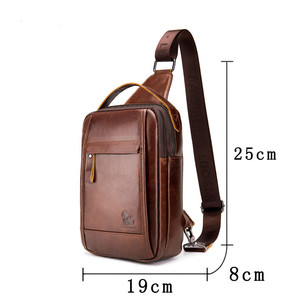 Image 4 - LAOSHIZI Brand Genuine Leather Top handle Handbag Men Chest Sling Pack Mens Shoulder Crossbody Bag Male Cowhide Messenger Bags