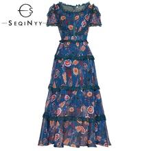 SEQINYY Chiffon Dress 2020 Summer Spring New Fashion Design Short Sleeve Purple Lace Ruffles Women High Quality Midi