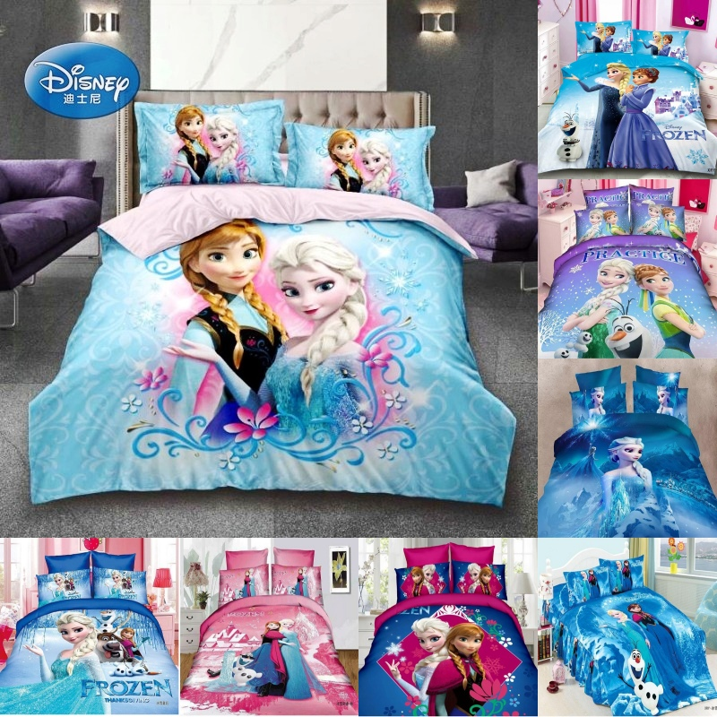 Disney Frozen Magical Princess Elsa Anna 3D Bedding Sets Kids Duvet Cover Pillowcase For Children Boys Girls 1.2m Bed