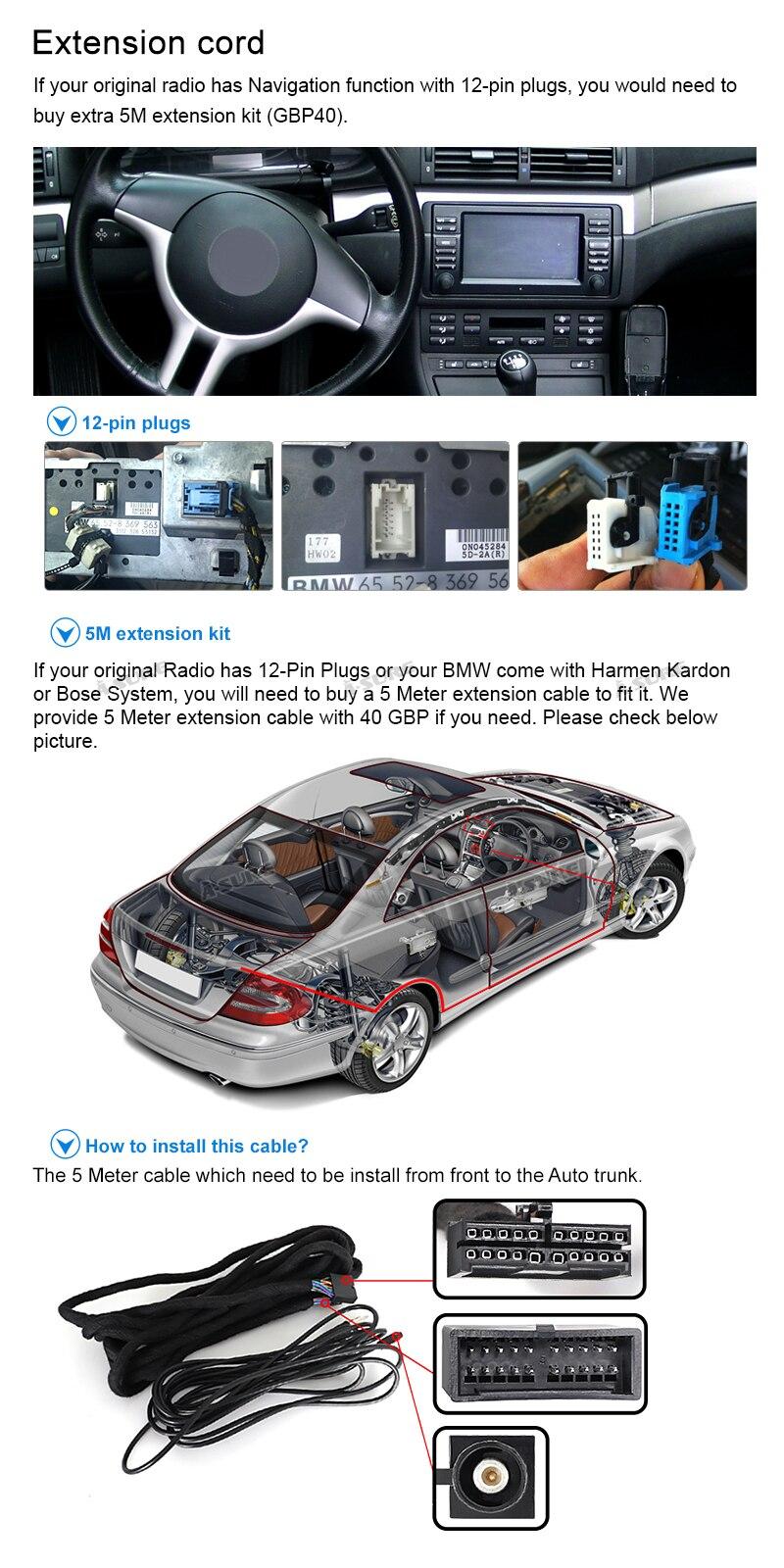 incluida la extensi/ón de Antena en DIN, I-Bus y Cable de Antena X5 E53 5 E39 Cable de extensi/ón Quadlock de 6,5m Compatible con BMW 3 E46
