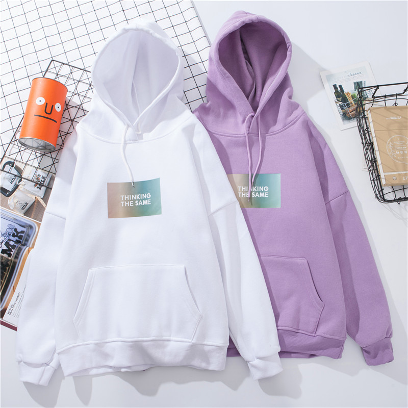 Winter Thicken Keep Warm Women Sweatshirt White Casual Letter Kawaii Oversized Hoodies Harajuku Fashion Korean Style Tops Female