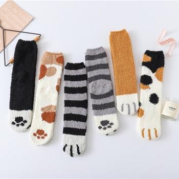 Winter Warm Cat Paw Socks For Women Coral Velvet Thick Girls Sleeping Home Floor Calcetines