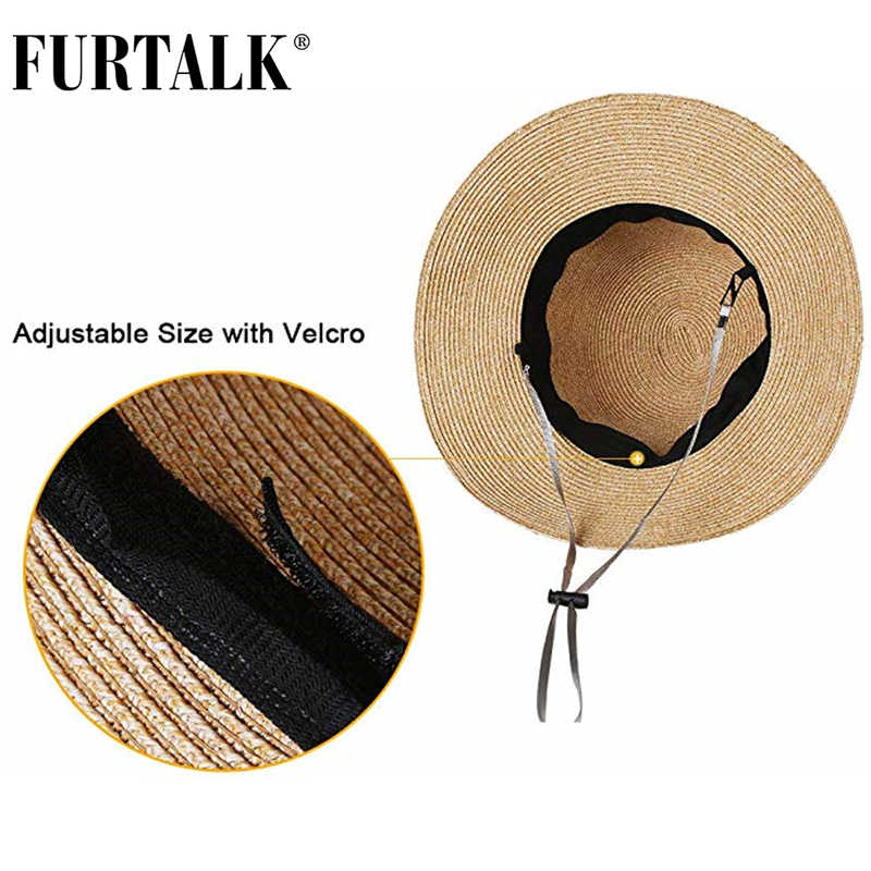 FURTALK, sombrero de verano para mujer, sombrero de Sol de playa, sombrero de paja, gorra fedora de Panamá, visera ancha, gorra de verano con protección UV para mujer