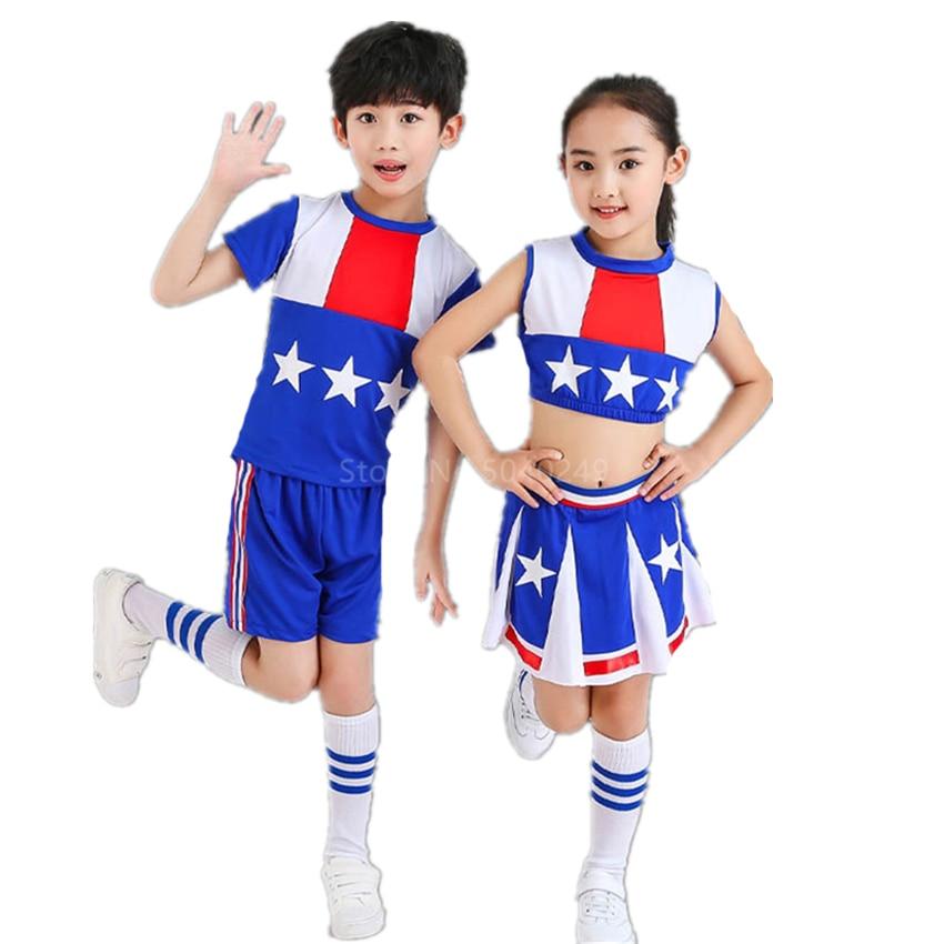 Школьная форма Болельщицы для маленьких девочек и мальчиков, танцевальный костюм без рукавов, современная детская командная одежда