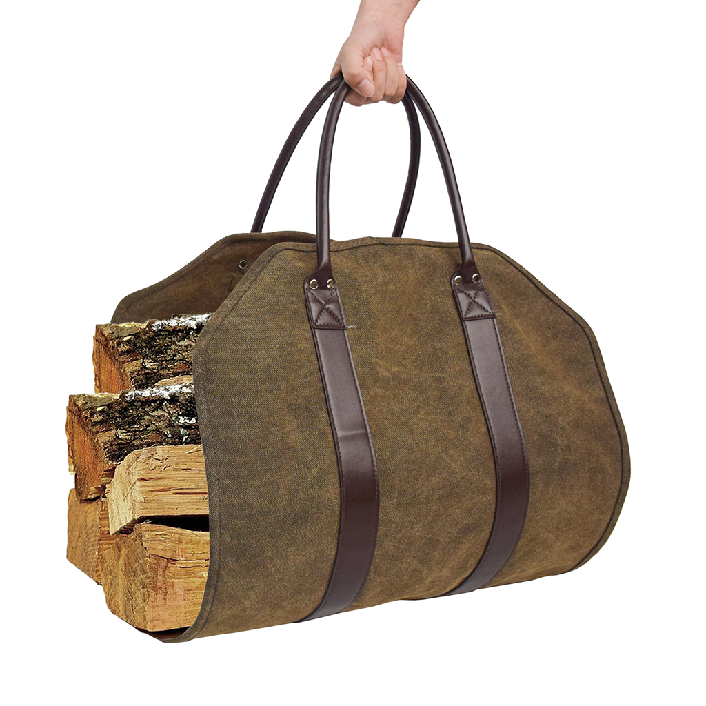 Log Carrier Firewood Carry Bag Fire Wood Waxed Canvas Log Tote Hand Bag Holder 39 X 18 Inches