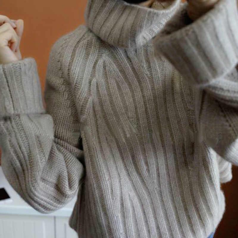 Smpevrg100 % Nguyên Chất Len 19 Hạng Nặng Mới Dày Cashmere Áo Len Nữ Cổ Cao Lỏng Lẻo Phiên Bản Hàn Quốc Của Áo Thun Cổ Ấm Áp áo Len