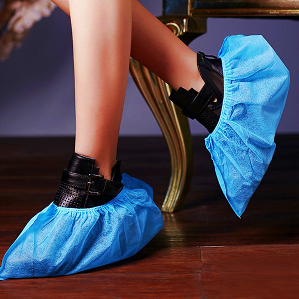 100 Pack Shoe Covers Disposable Non Slip Durable Water Resistance Non-Woven Fabrics Boot & Shoes Cover For Construction
