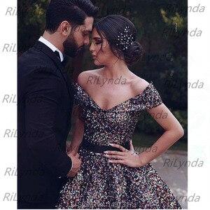 Image 5 - פאייטים ארוך ערב שמלות 2020 נפוח ספגטי רצועת כיסים ערב שמלות ערבית דובאי נשים פורמליות המפלגה שמלה