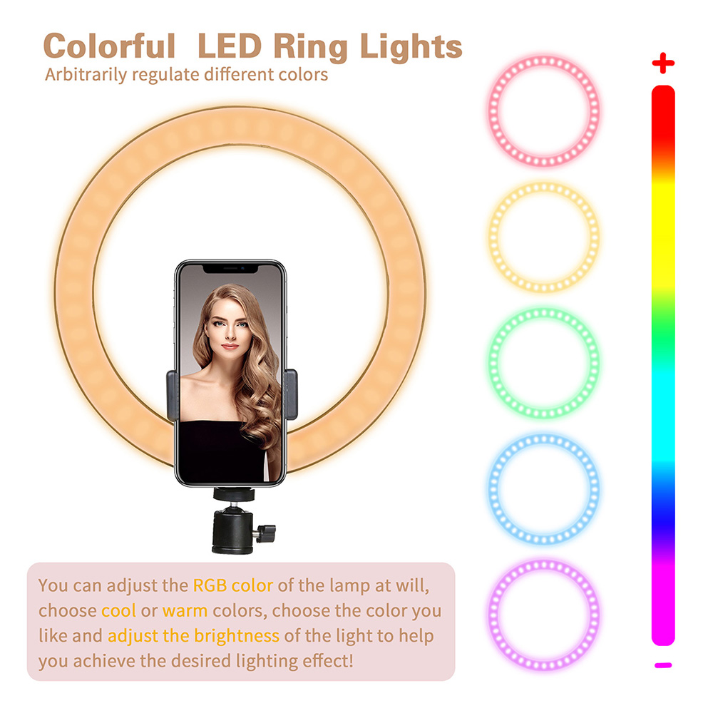 10 inch Selfie Ring light RGB color led Dimmable 26cm Photography Lighting Video Studio Photo With Phone Youtube For iPad Holder