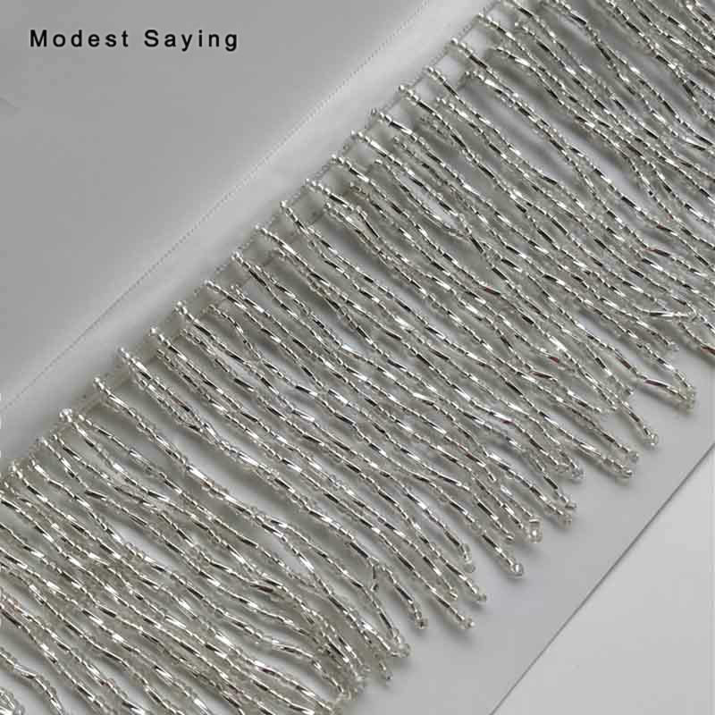1 Yard Silver 9cm Beaded Fringe Trim Ribbon Sewing Tassel Fringe Trimming Latin Dress Evening Party Gowns Garment Accessories