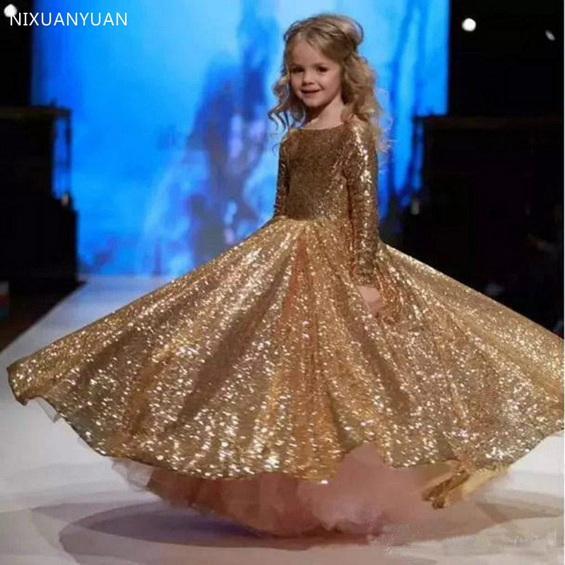 Gorgeous Flower Girl Dress Gold Sequined Kids Long Sleeve O-Neck A-Line Floor Length For Wedding Party Princess Dress