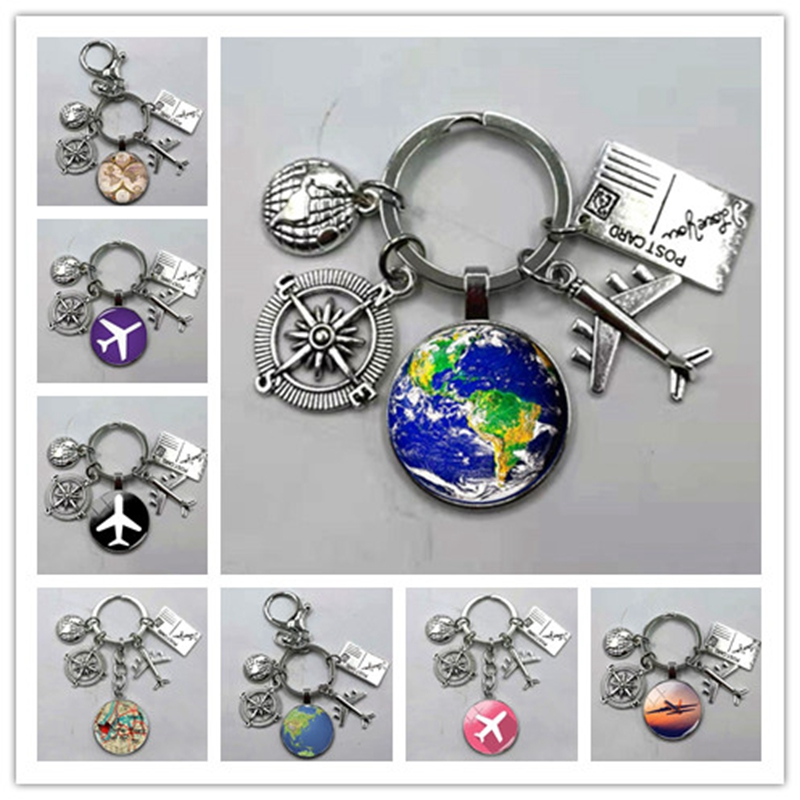 World Map Cabochon Glass Dome Keychain ~Love to Travel~ Key Ring