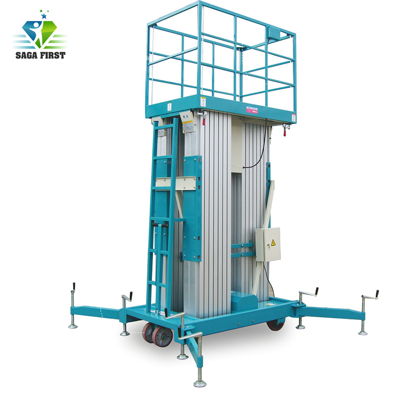 Double Masts Aluminium Hydraulic Lift For Aerial Work