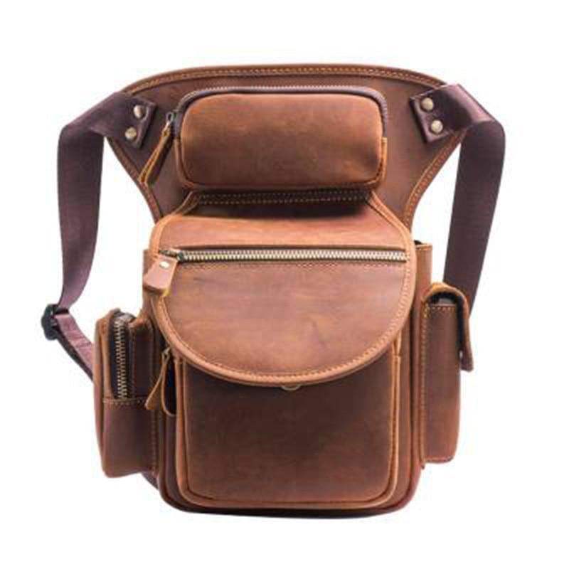 Genuine Leather Male Bum Fanny Pack Crazy Horse Cowhide Hip Men Riding Travel Multi-Purpose Pouch Thigh Drop Waist Leg Bag