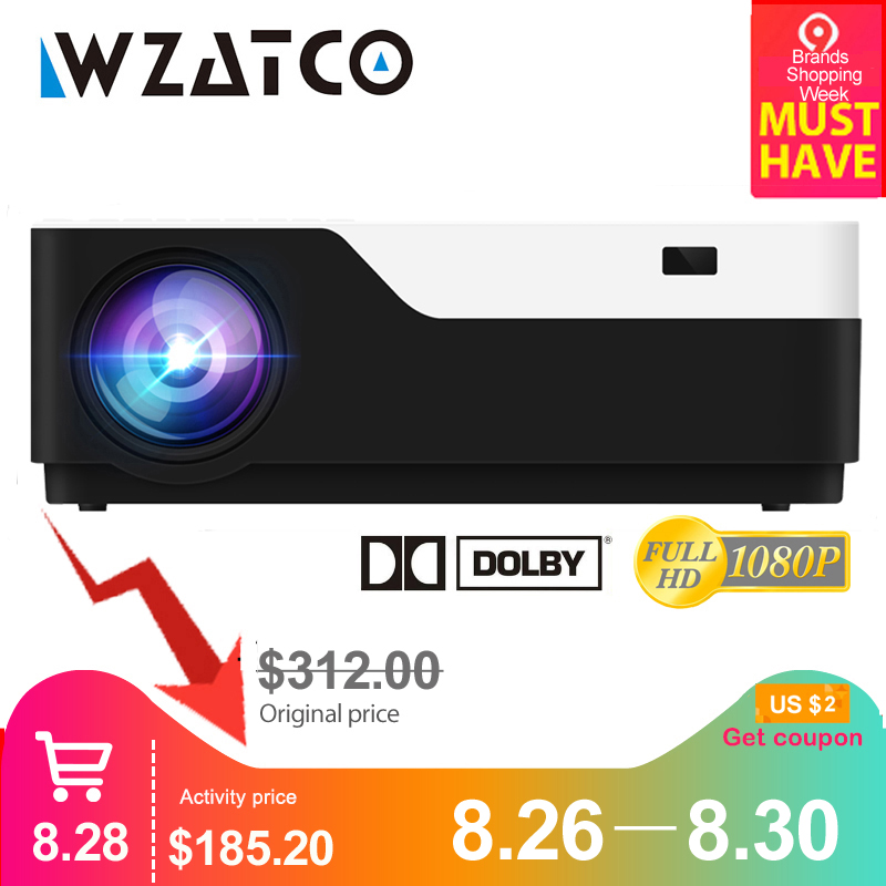 WZATCO Video-Proyector 5500lumen WIFI Android 1920x1080p Home Theater Full-Hd 4K Support