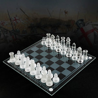 Glass Chess Board High Quality Anti-broken Elegant Glass Chess Pieces Chess Game Chess Set Chess Game Large Size 35CM