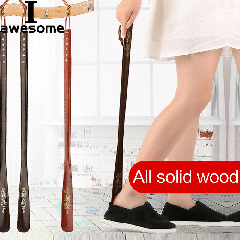1pc 22/55/70cm Professional Wooden Shoe Horn Flexible Long Handle Shoehorn Useful Shoe Lifter Professional Shoe Spoon Home Tools