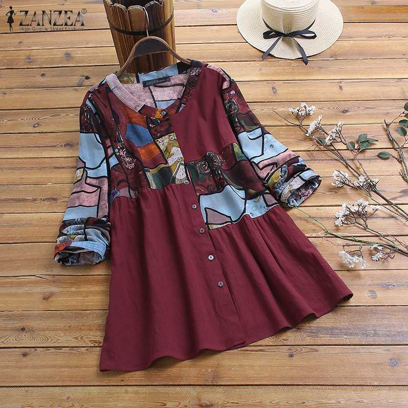 ZANZEA Women Spring Vintage Floral Printed Cotton Linen Blouse Casual Long Sleeve Buttons Down Blusas Loose Robe Shirt Mujer Top