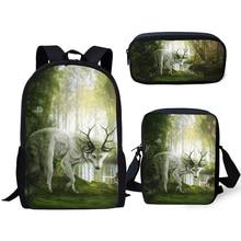 ELVISWORDS Fashion Childrens Backpack Cartoon Deer Pattern School Book Bags Kawaii Animal Design Students Set