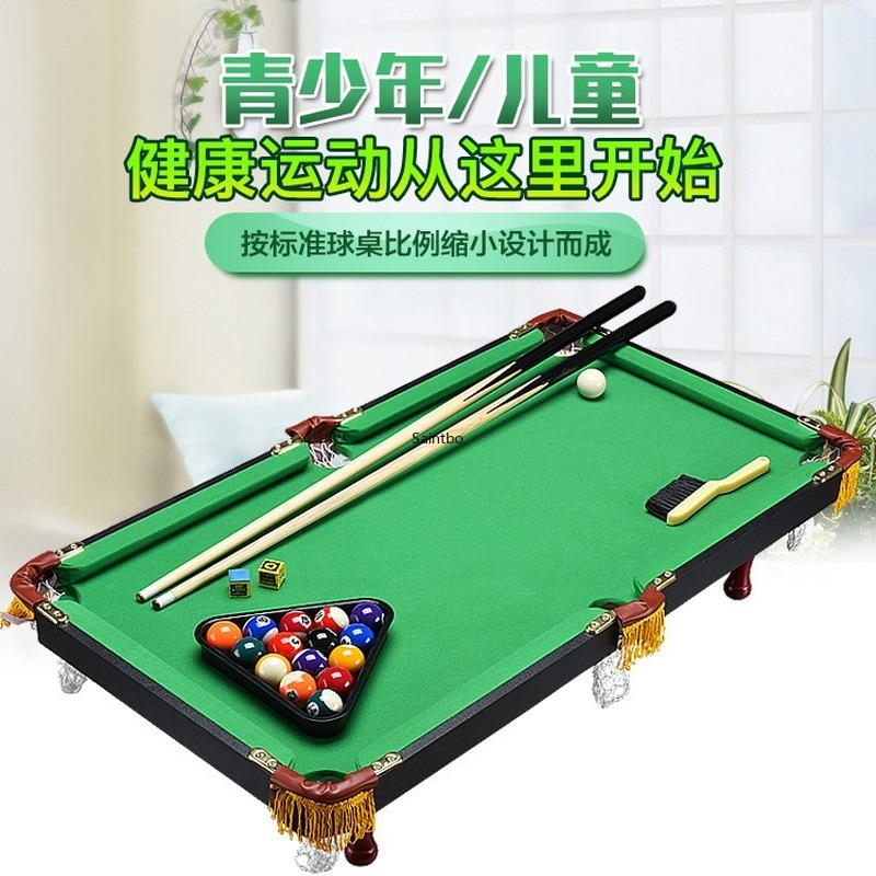 Children's Billiard Table Set Mini Pool Table Billiards Table With Balls And Cue Kids Entertainment Play Sports Toy