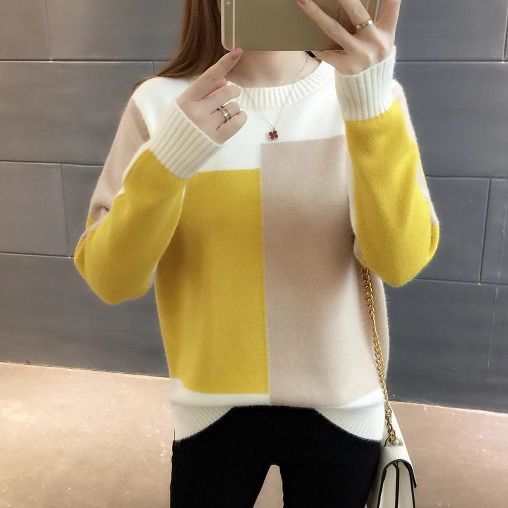 GUMPRUN Fall Winter Women Knitted Crewneck Sweater Fashion 2019 Casual Sweaters Long Sleeve Loose Elasticity Splice Pullover Top