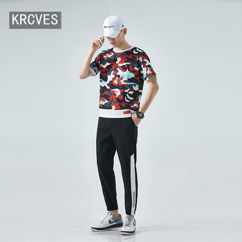 2020 summer new mens short sleeve suit handsome camouflage casual trend 2-piece