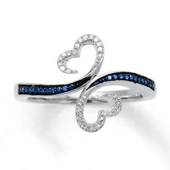 Huitan Romantic Women Ring Cloud Shape White/Blue CZ Stones Birthday Wedding Party Anniversary Present Fashion Jewelry Size 6-10 1