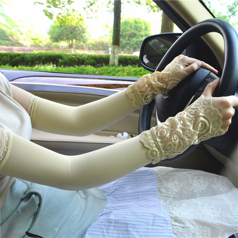 Summer Women Lace Arm Sleeve  Lace Stitching Gloves Female Outdoor Driving Anti-ultraviolet Riding Sunscreen Arm Gloves Outdoor