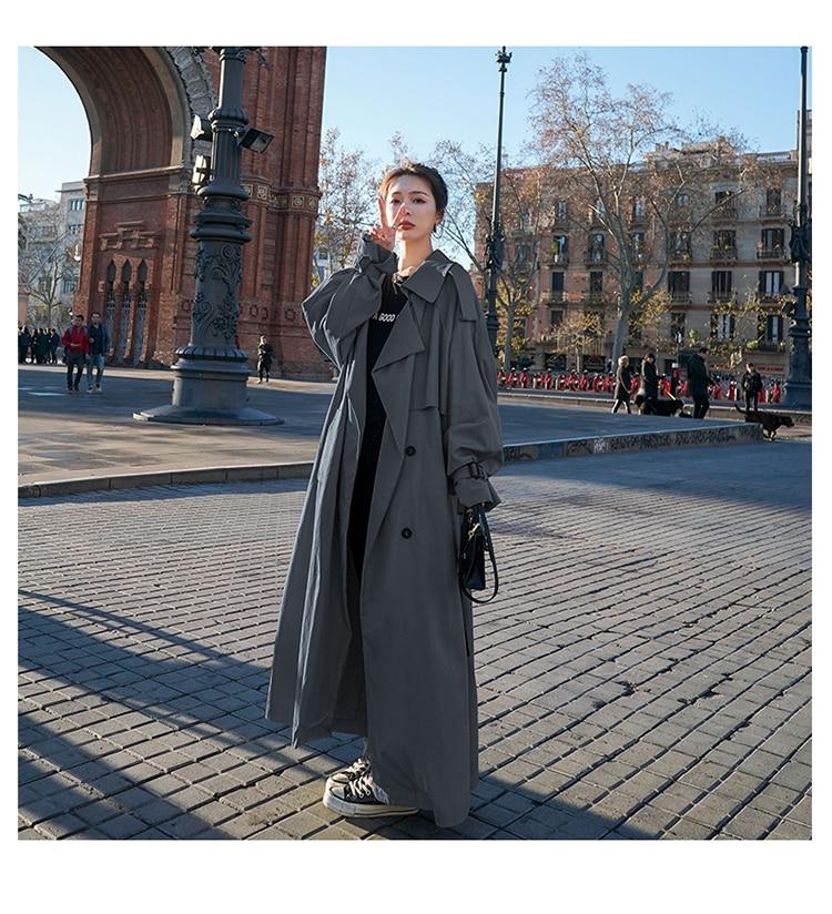 H895b72bfe43d4c9b9c9e288e144fa9e29 Korean Style Loose Oversized X-Long Women's Trench Coat Double-Breasted Belted Lady Cloak Windbreaker Spring Fall Outerwear Grey