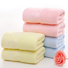Simple embroidery style natural cotton towel high quality thickened soft absorbent towel adult pure cotton face wash towel