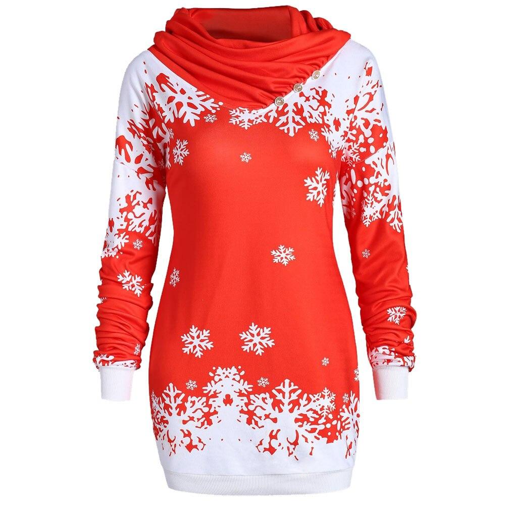 Fashion Women Hoodies Merry Christmas Snowflake Printed Tops Cowl Neck Sweatshirt Low Price Promotions Slim Hoodies