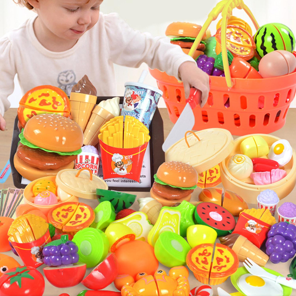 Kids 36pcs Mini DIY Fun Kitchen Cutting Knife Food Bread Cake Fruit Vegetable Shopping Cart Basket Pretend Role Play Toys Gifts
