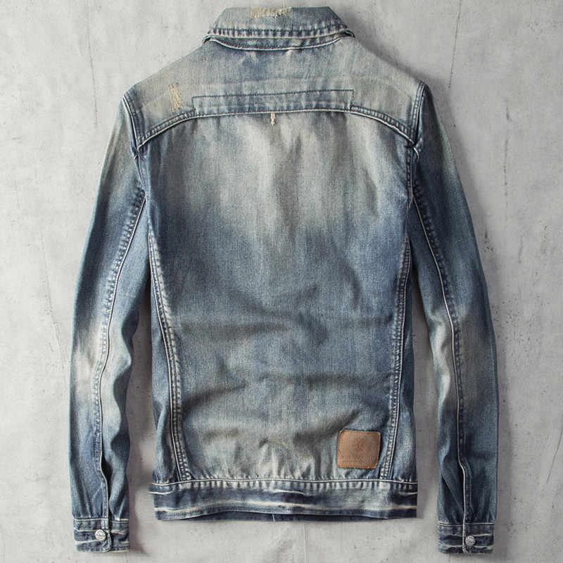 2020 męskie dżinsy kurtki w stylu europejskim Streetwear Biker Man płaszcz odzież XXXL męskie kurtki-pilotki płaszcze lato A524