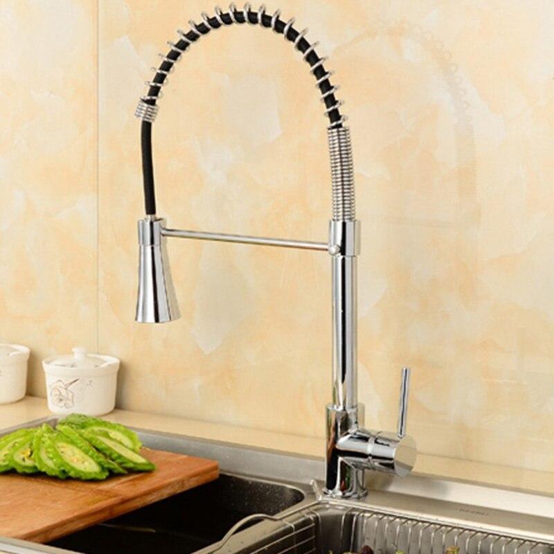 Robinet de cuisine en laiton chromé bassin robinet à ressort robinet de cuisine en cuivre évier double pivotant becs évier