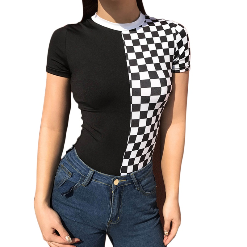 Jumpsuit For Women Plaid Printed Patchwork Bodysuit O Neck Short Sleeve Tight Bodysuit Female Skinny Casual Rompers
