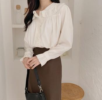 new Long Women Skirt Vintage Straight Skirt High Waist Girls skirts long sleeve blouse suit Femininas Mujer Sell separately 1