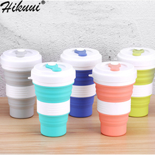 Creative 550ml Folding Silicone Cup Travel Portable Water Cup Silica Coffee Mug Telescopic Drinking Collapsible Mugs cheap HIKUUI CN(Origin) Travel Mugs With None With Lid CE EU LFGB Folding cup 550ML Eco-Friendly Stocked Silicone Water Cup