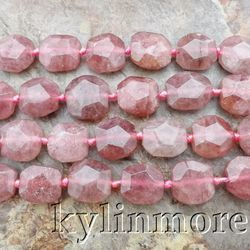 8SE11134 17x18mm Muscovite Strawberry Quartz Faceted Loose Beads 16