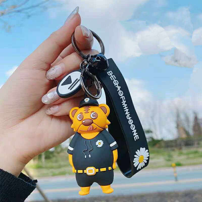 G-DRAGON same small daisy Keychains Korean ins police Key Chain bear creative bag car small pendant accessories gift Key Ring