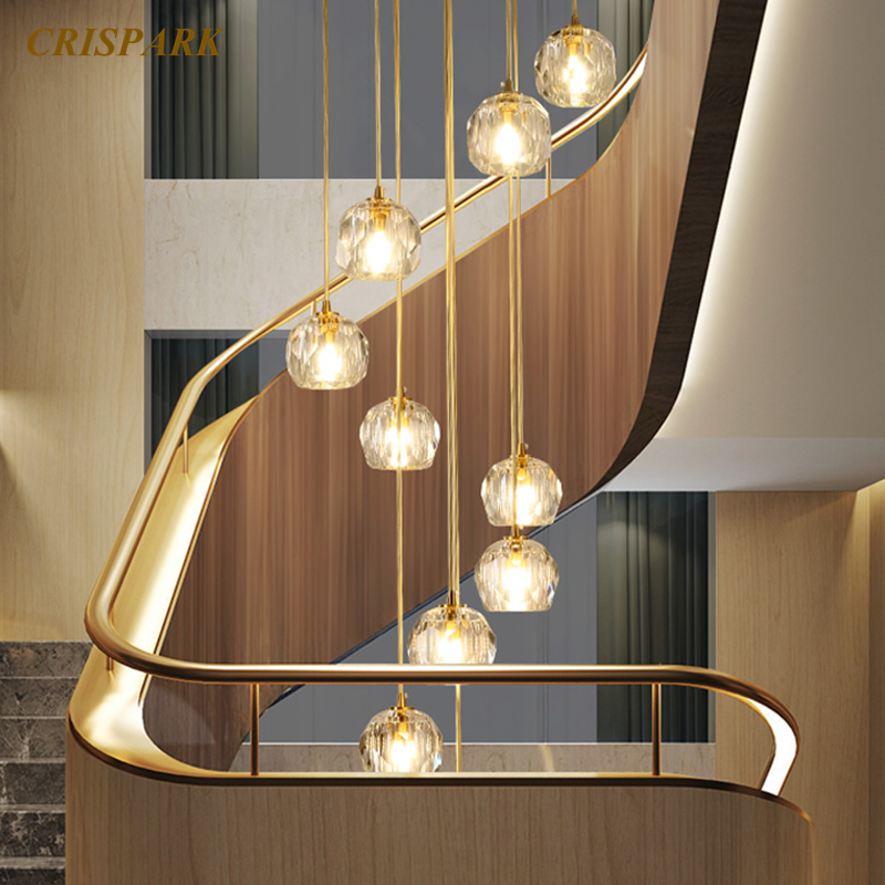 Modern Glass Chandeliers Lamp Crystal Pendant Hanging Lights LED Simple Creative Decorative Lights Fixture