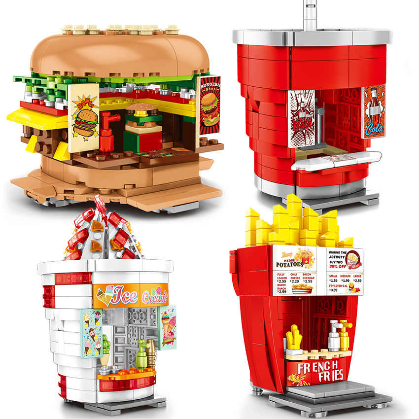 Burger shop Fast-food Restaurant Compatible legoinglys City Mini Street View With Mini Figures Building Block Toys For Children