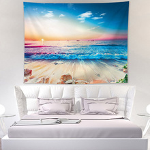 цена на Jayi Mediterranean Style Beach / Sea Side Sunset Scenery  Wall Tapestry Wall Hanging Decoration Polyester 81GT